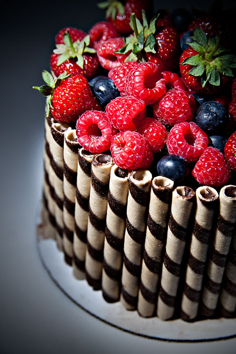 Chocolate Gnocche Cake with fresh berries