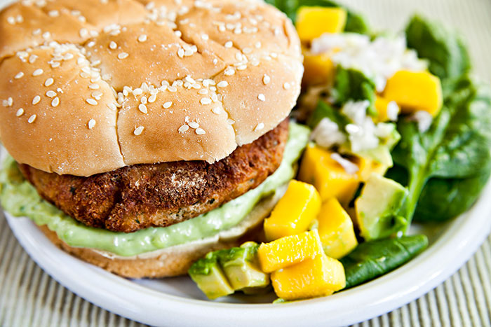 Shrimp Burger & Spinach Avocado and Mango Salad