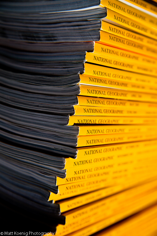A stack of National Geographic magazines