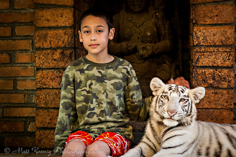 My son and his white tiger