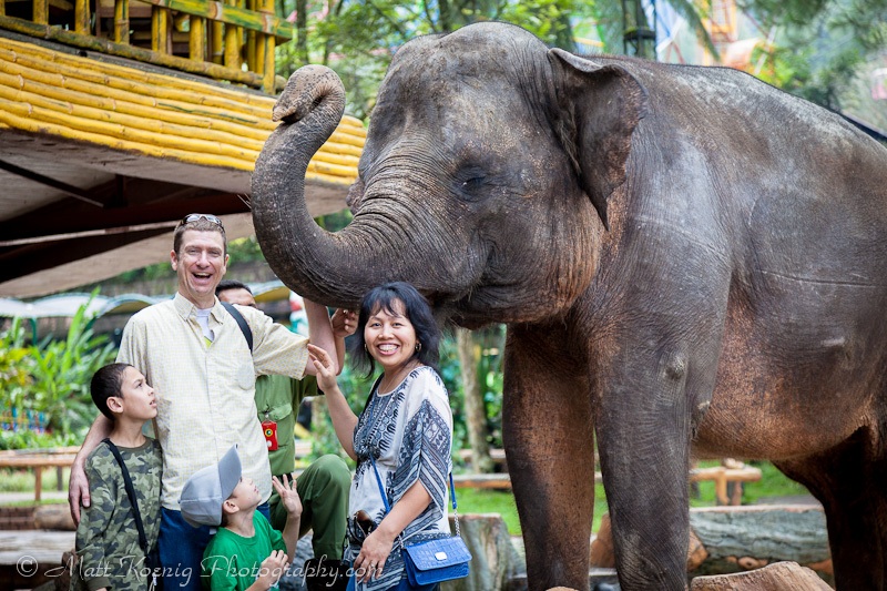 The family with an elephant at Taman Safari Bogor Indonesia
